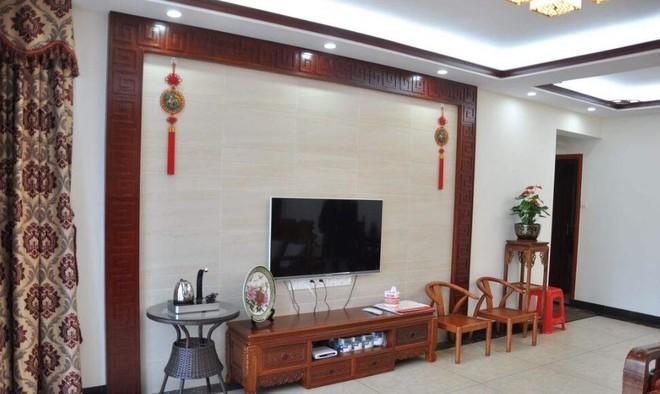108平中式风格客厅墙面瓷砖唯美效果图