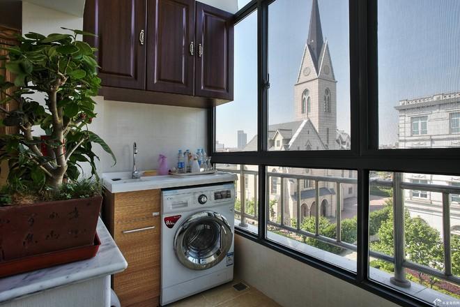 90平方别墅中式古典风格阳台洗衣台装修效果图