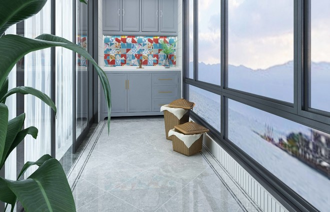 120平米中式古典风格阳台贴瓷砖装修效果图
