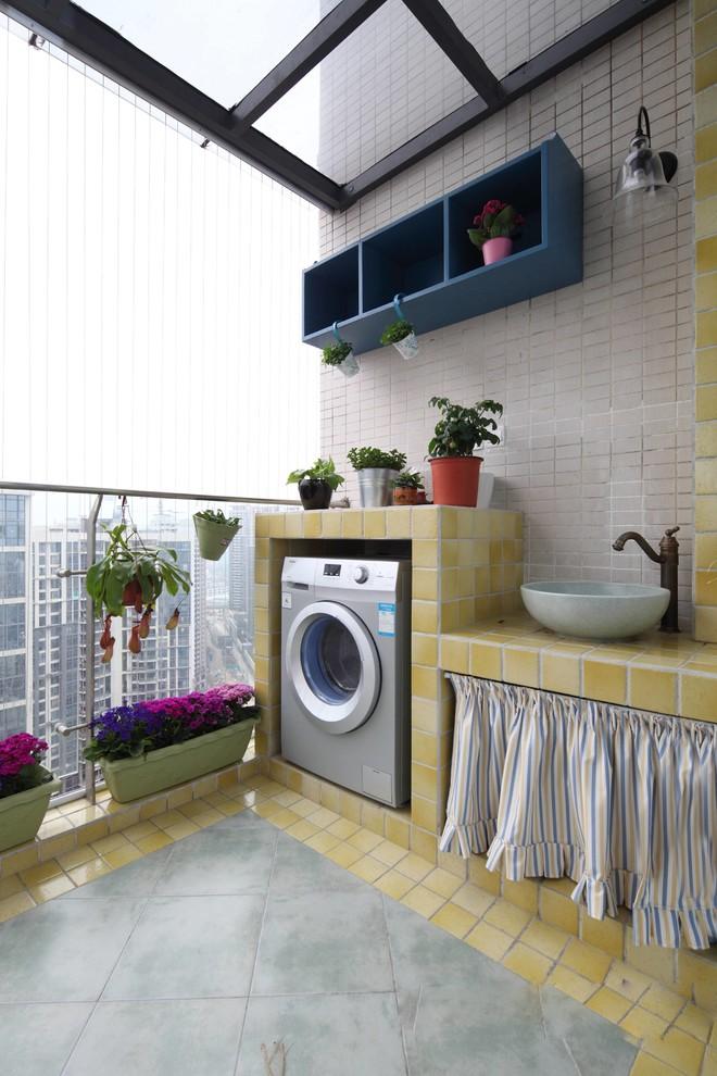 140平方房子现代田园风格阳台贴瓷砖装修效果图