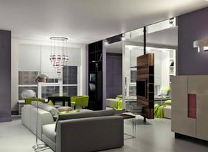 90平米兩居室客廳家具擺放效果圖