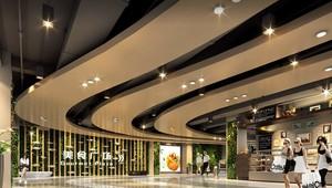 1300平商场弧形吊顶装修效果图