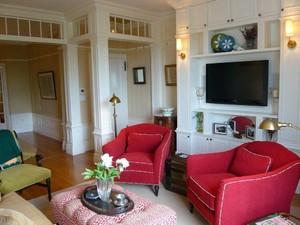 100平米復式樓紅白色房間田園風格裝修效果圖