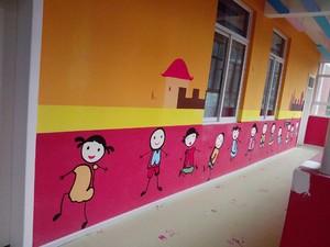 300平手拉手幼儿园墙壁画效果图