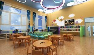 180平梦幻风格教室幼儿园墙壁画效果图