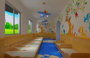 50平午休室卡通风幼儿园墙壁画效果图