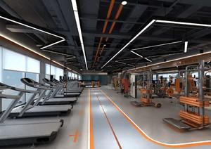 500平现代工业风室内健身房装修效果图