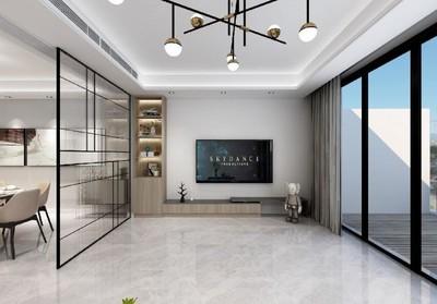 220平米現代輕奢風格別墅客廳陽臺隔斷圖片大全價格
