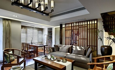 185平米中式風格別墅客廳陽臺隔斷價格和圖片大全