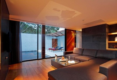 320平米現代輕奢風格別墅客廳陽臺隔斷裝修效果圖