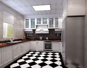 3平米黑白瓷磚廚房裝修效果圖