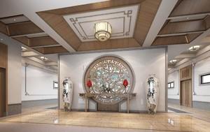 142平米中式風格公司門廳吊頂裝修效果圖