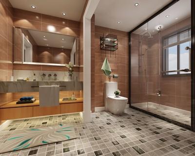 25平简约复古风格宾馆卫生间吊顶装修效果图