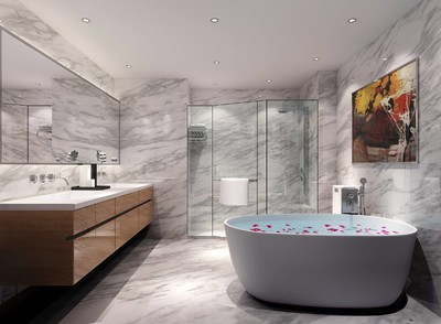 25平时尚轻奢风格宾馆卫生间吊顶装修效果图
