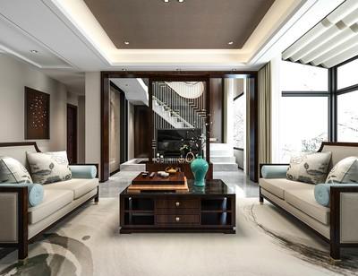 190平米歐式混搭風格別墅客廳陽臺隔斷裝修效果圖