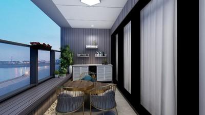 300平米現代創意風格別墅客廳陽臺隔斷裝修效果圖