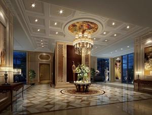243平米酒店大廳石膏板吊頂裝修效果圖