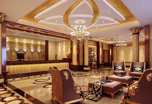215平米酒店大廳石膏板吊頂裝修效果圖