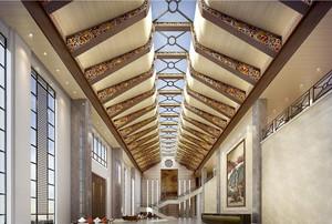 210平米酒店大廳石膏板吊頂裝修效果圖