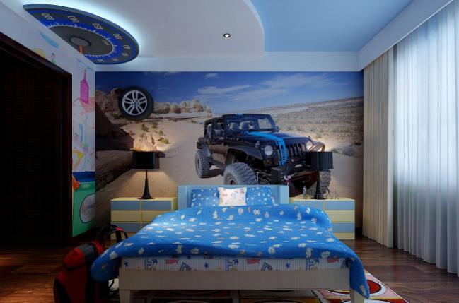 120平米房子简欧儿童房吊顶装修效果图