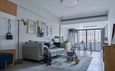 110平房子简欧客厅不吊顶装修效果图