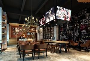 290平两层米咖啡厅平面装修效果图