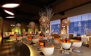 60平米咖啡厅平面装修效果图