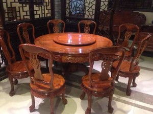 新中式風格紅木餐桌家具店裝修效果圖