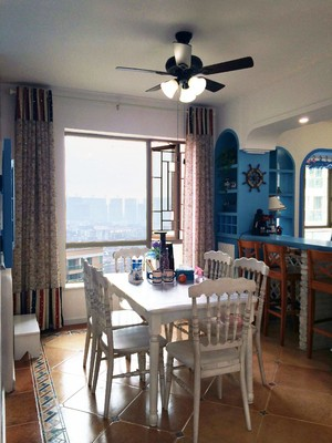 110平米房子地中海風格廚餐隔斷裝修效果圖
