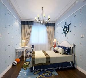 120平米房子兒童房地中海風格床頭壁紙裝修效果圖