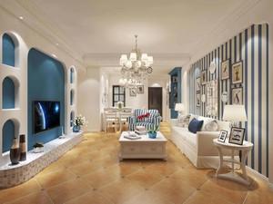 115平三居室地中海風格客廳墻布背景墻裝修效果圖