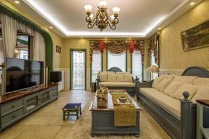 125平大戶型新古典風格客廳墻布背景墻裝修效果圖