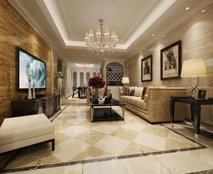 115平三居室新古典風格客廳石材背景墻裝修效果圖