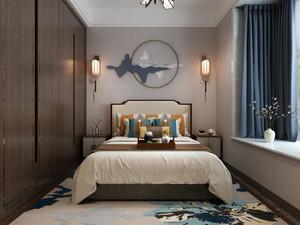70平米新中式卧室天花板吊顶效果图