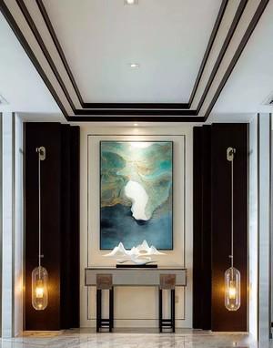 160平米復古風格有花格的玄關吊頂裝修效果圖