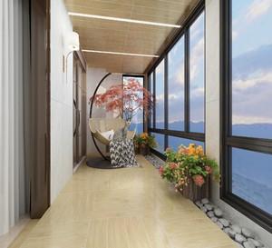 120平米房屋新中式阳台吊顶装修效果图