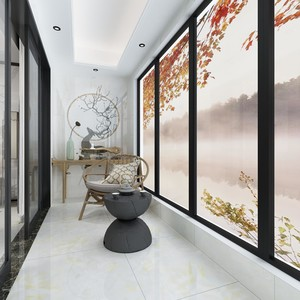 130平米房屋新中式阳台吊顶装修效果图
