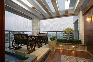 160平米房屋新中式阳台吊顶装修效果图