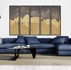 110平米三居室客厅背景墙挂画装修效果图