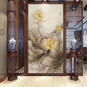 110平米中式风格压花玻璃屏风效果图