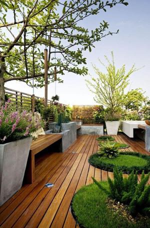 复式屋顶花园塑木地板效果图