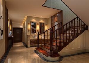 150平米中式古典風格別墅樓梯間吊頂裝修效果圖