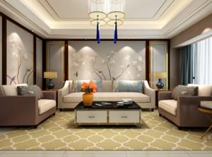 135平米三居室客厅背景墙挂件装修效果图