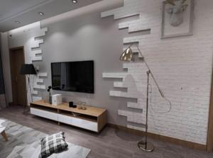115平米大户型客厅背景墙射灯装修效果图