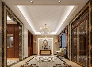140平米简单中式风格别墅大门口吊顶装修效果图