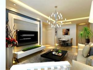 132平米客厅石膏板背景墙装修效果图