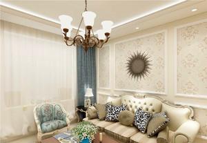 125平米客厅石膏线背景墙装修效果图