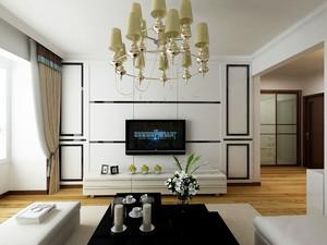 132平米客厅石膏线背景墙装修效果图