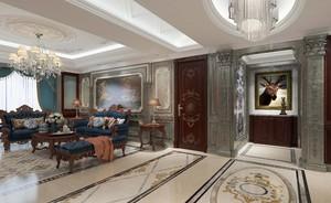 150平大戶型古典風格客廳硬包背景墻裝修效果圖