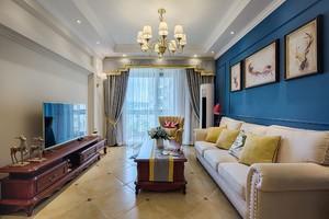 100平三居室美式风格客厅硬包背景墙装修效果图